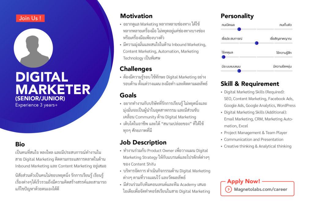 ตำแหน่ง งาน Digital Marketer