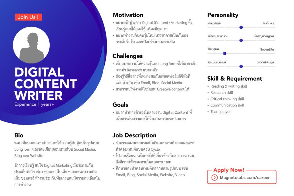 ตำแหน่งงาน Digital Content Writer